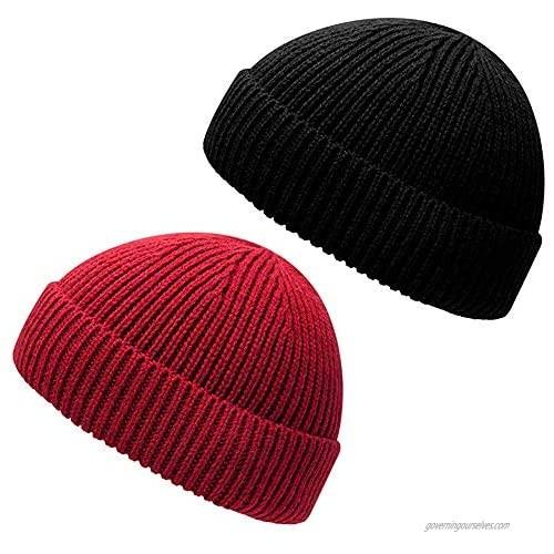 ZXDY Trawler Beanie Hat Roll up Edge Skullcap Fisherman Beanie for Men Women Winter Cuffed Hats