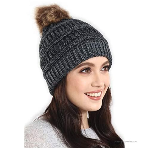 Brook + Bay Pom Pom Beanie Winter Hat for Women - Faux Fur Pompom Warm Chunky Soft Cable Knit Hats - Cold Weather Knitted Cap