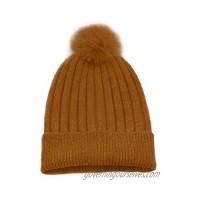 Cashmeren Women's Real Fur Pom-Pom Beanie 100% Pure Cashmere Cuffed Brim Hat Ultra-Soft and Warm