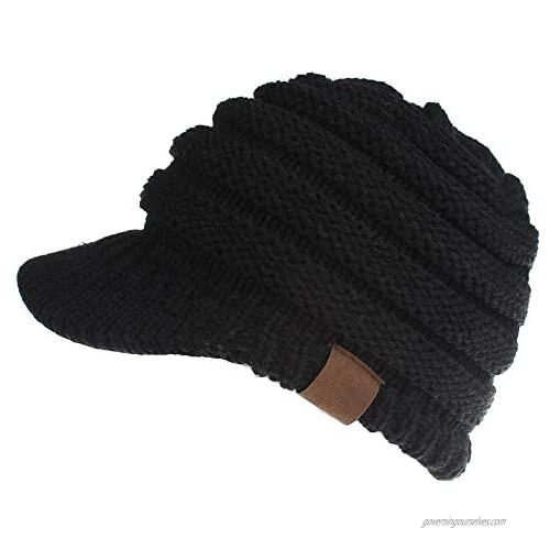 Dukars Women's Warm Chunky Cable Knit Messy Bun Hat Ponytail Visor Beanie Cap