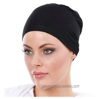 Lace-Free Bonnet Cotton Washable Stylish Islamic Bonnet & Cap Can Be Used in Daily Life and Worship. Covers The Hair Black
