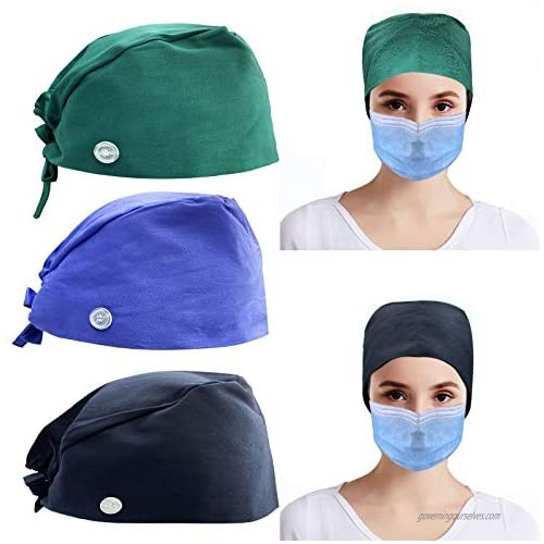 Lanxy 3PCS Printed Bouffant Cap Working Caps with Sweatband Adjustable Hats Head Cover for Women Men