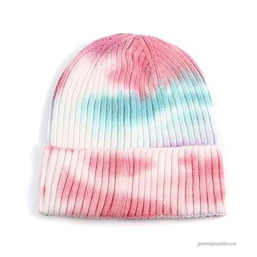 LUCMENTA Women Tie Dye Beanie Men Soft Winter Knit Hat