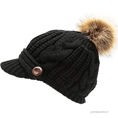 MIRMARU Women's Chunky Winter Soft Cable Knitted Double Layer Visor Beanie Hat with Faux Fur Pom Pom