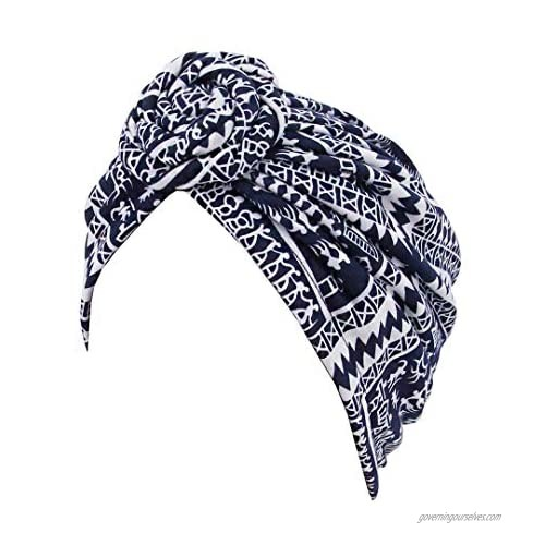 Multifit Women's Knotted Turban African Pattern Head Wrap Beanie Pre-Tied Bonnet Chemo Cap Hair Loss Hat