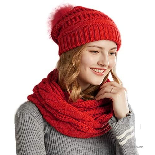 NEOSAN Women Winter Thick Knit Infinity Loop Scarf And Pom Pom Beanie Hat Set