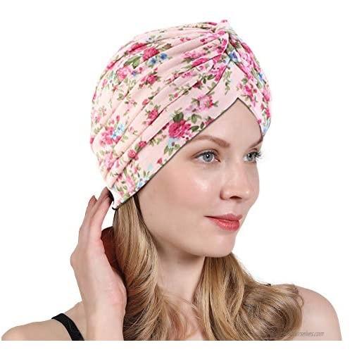 New Women's Cotton Turban Flower Prints Beanie Head Wrap Chemo Cap Hair Loss Hat Sleep Cap