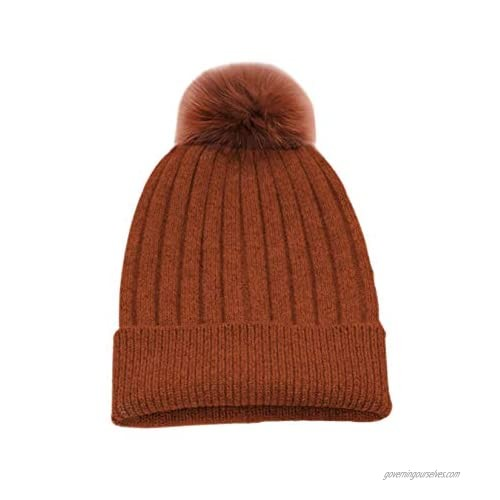 State Cashmere Rabbit Fur Removable Pom-Pom Hat 100% Pure Cashmere Cuffed Beanie Ultimately Soft and Warm