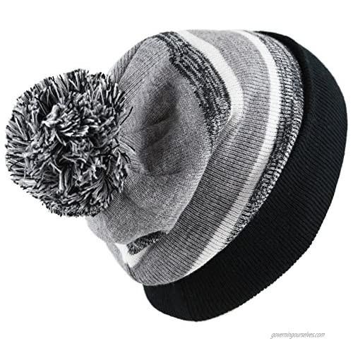 The Hat Depot Winter Soft Unisex Cuff Pom Pom Stripe Knit Beanie Skull Slouch Hat