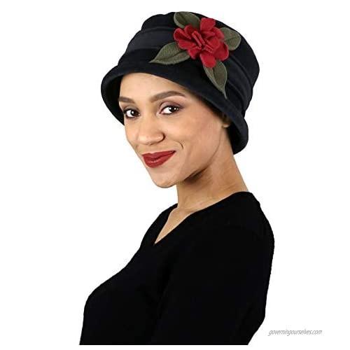Womens Hat Luxury Fleece Cloche Ladies Cancer Headwear Chemo Winter Head Coverings Plush Double Layer Olivia