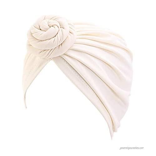 Xuan Ding Women Turban Knotted Cotton Headwrap Beanie Pre-Tied Bonnet Women Hair Accessories Chemo Cap Hair Loss Hat