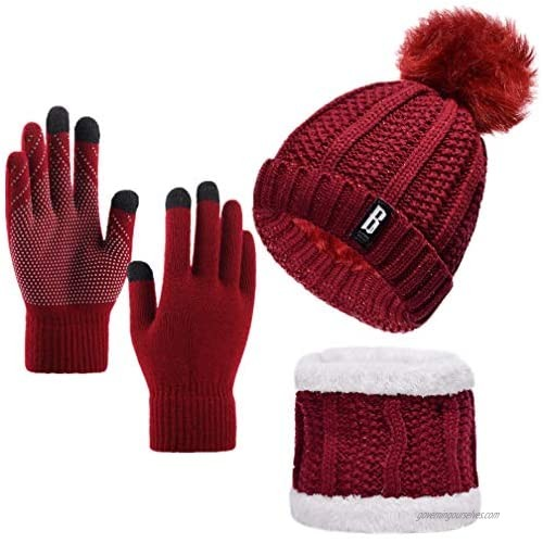 Yvechus Lady Winter Warm Pom Knit Beanie Hat Scarf Gloves Set Touch Screen Slouchy Thick Fleece Lined 3 in 1 Set