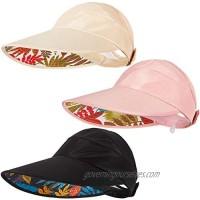 3 Pieces Summer Women UV Protection Sun Hats Wide Brim Adjustable Visor Caps Summer Beach Hats for Women Golf Outdoor Sports
