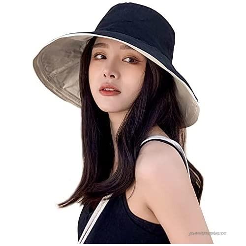 Ayliss Women's Sun Hat Cotton Bucket Hat Fashion Summer Beach Wide Brim Hat Travel Packable Reversible Double-Side-Wear Cap