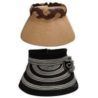BMC 2pc Roll Up Collapsible Visor Style Straw Hats  Braid + Floral Collection