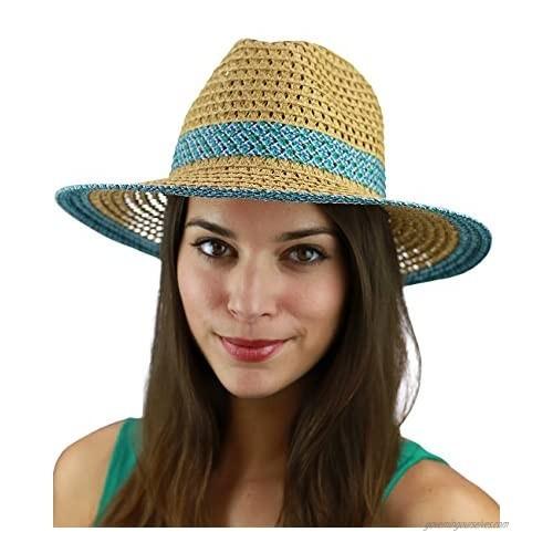 C.C Women's Multicolored Open Weaved Panama Fedora Summer Sun Hat