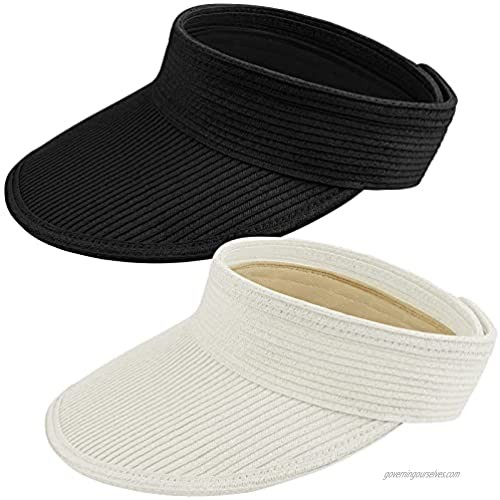 Cooraby 2 Pieces Women Sun Visor Hats Wide Brim Roll-up Foldable Caps Beach Hats for Outdoor Sun Protection