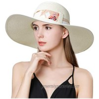 Fancet Womens Packable Floppy Straw Beach Sun Hat with Wide Brim Foldable Panama Travel Hat