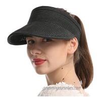 HOPSOOKEN Straw Beach Hats for Women Men Wide Brim Foldable Sun Hat UV Protection Visors