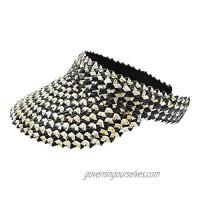 jiaoji Straw Sun Hat Sun Visor Clip Women's UPF 50+ Wide Brim Roll-up