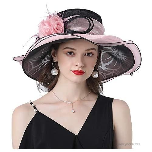 KN Accessories Women Hats Organza Hats Wide Brim Occasion Event Kentucky Derby Church Dress Sun Hat