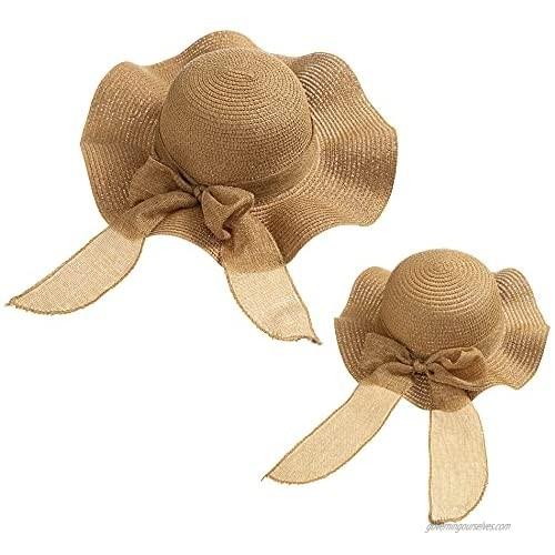 Mommy and Me Hats Women Baby Toddler Summer Hat Beach Wide Brim Kids Straw Hat Sun Visor