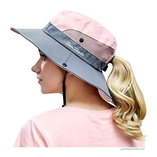 OZ SMART Sun Hat for Women  Wide Brim Ponytail Bucket Hats Certified UPF 50+ UV Protection for Hiking  Gardening  Fishing