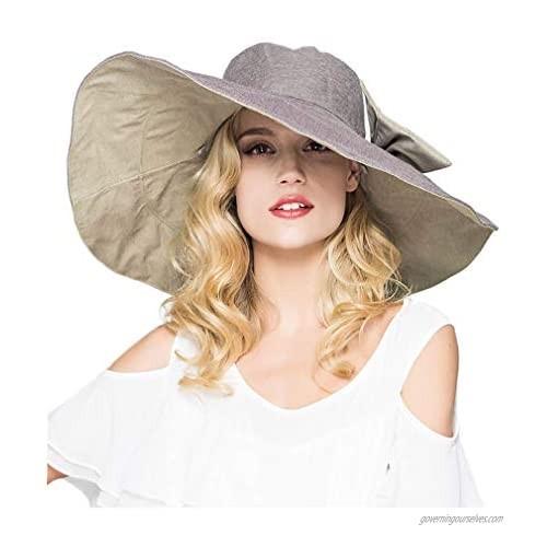 Packable Reversible Large Brim Floppy Sun Hat UPF 50 Sun Protection Travel Beach Hat