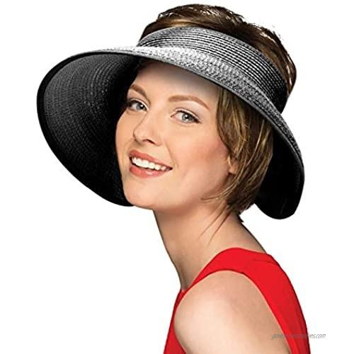 Peicees Sun Straw Hat for Women Wide Brim Beach Visors Hat (Black-1)