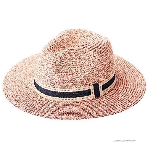 RIONA Women Wide Brim Straw Panama Roll up Hat Fedora Beach Floppy Sun Hat Summer UPF50+