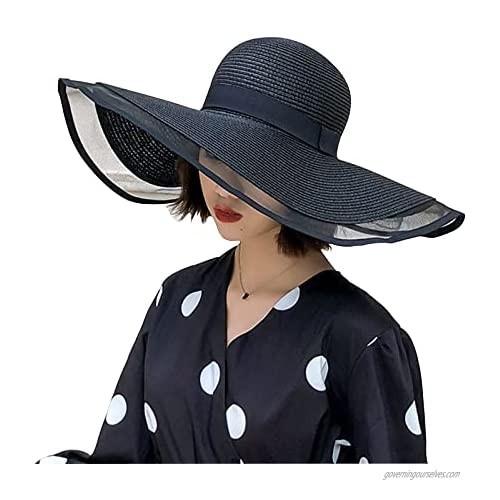 Summer Beach Sun Hats for Women Foldable Floppy Travel Packable UV Hat  Wide Brim Hat UPF 50+