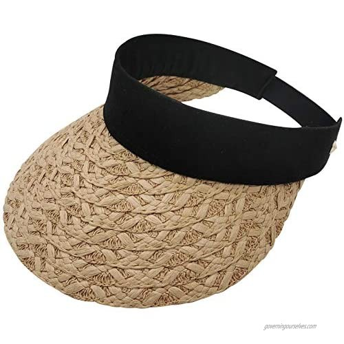 Sun Hats for Women with UV Protection Wide Brim Summer Straw Visor Beach Hat Packable Foldable