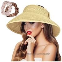 Sun Visor Hat Women Straw Sun Hat for Women Beach Hat UV Protection Wide Brim Hat Foldable Hat UPF 50+ Ponytail Visors