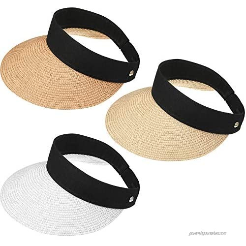 Sun Visor Hats for Women 3 Pieces  Sun Protection Women Straw Beach Hat Wide Brim Roll-up Foldable Styles for Outdoor Activities