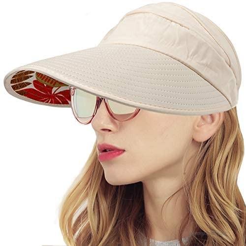 Sun Visor Hats for Women - Wide Brim Sun Hat Summer Beach Hat Foldable Visors