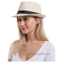 Women Straw Sun Beach Hat - Florge Large Wide Brim Floppy Face Sunhat Foldable for Summer UV Protection Gift
