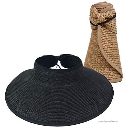 Women Sun Visor Hats Summer Roll Up Packable Wide Brim Straw Hat