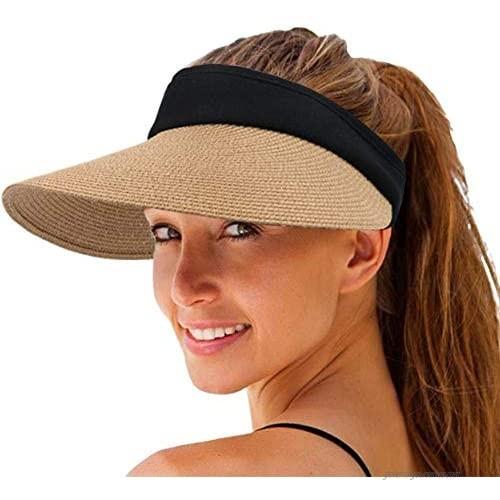 Women's Straw Sun Visor Hat Wide Brim Sun Protection Caps Roll-up Foldable Hats Summer UV Protection Beach Cap