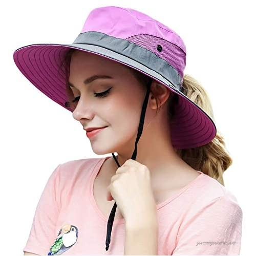 Women's Summer Sun Hat Wide Brim Mesh Hats UV Protection UPF 50 with Ponytail Hole