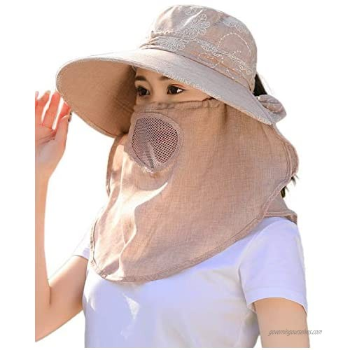 Womens Summer Wide Brim Flap Bill Cap Breathable Face Shield Sun Hats w Chin Cord Neck Face Cover