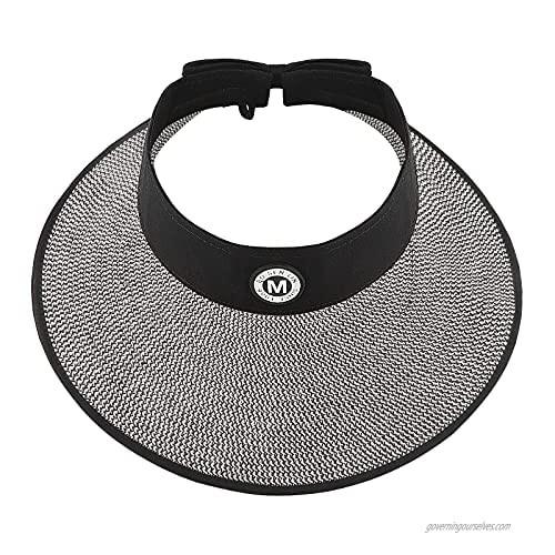 Ysoazgle Beach Hats for Women Wide Brim Roll-up Foldable Straw Sun Hat UPF 50