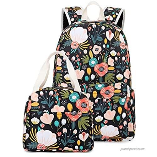 Backpacks for Girls School Backpack Lightweight Elementary Kids Bookbag Set with Lunch Bag Black