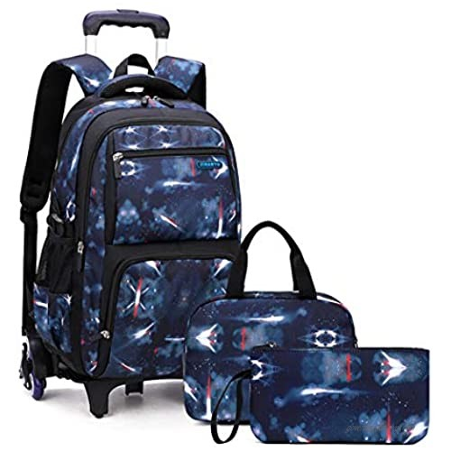 Bansusu 3Pcs Aerospace Printing Waterproof Primary Middle School Rolling Trolley Backpack with Lunch Bag