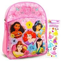"""Disney Princess Mini Backpack Preschool Toddler Kindergarten ~ Deluxe 11"""" Princess School Bag with Stickers (Disney Princess School Supplies)"""