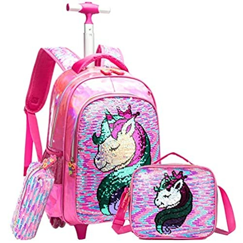 Egchescebo School Kids Rolling Backpack for Girls and Boys With Wheels Trolley Wheeled Backpacks for Girls Travel Bags 3PCS Girls and Boys Backpack With Lunch Box Rose Red