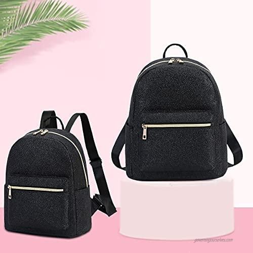 Girls Mini Backpack Womens Small Backpack Purse Teens Cute Rainbow Travel Backpack Casual School Bookbag (Black Shiny)