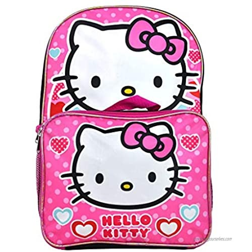 """Hello Kitty Pink Backpack 16"""" Large with Removable Lunch Bag"""