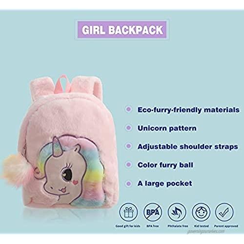 Kids Unicorn Backpack For School Furry Cartoon Preschool Bookbag Small Daybackpack For Girls(Pink)