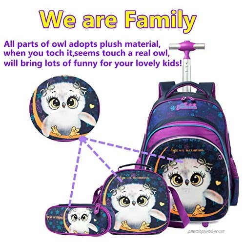 Meetbelify Rolling Backpack for Girls Kids Backpacks with Wheels for Girls School Bags with Lunch Box Wheeled Laptop Luggage