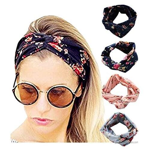 4 Pack Women Elastic Headband Boho Floal Style Criss Cross Head Wrap Hair Band Twisted Cute Hair Accessories